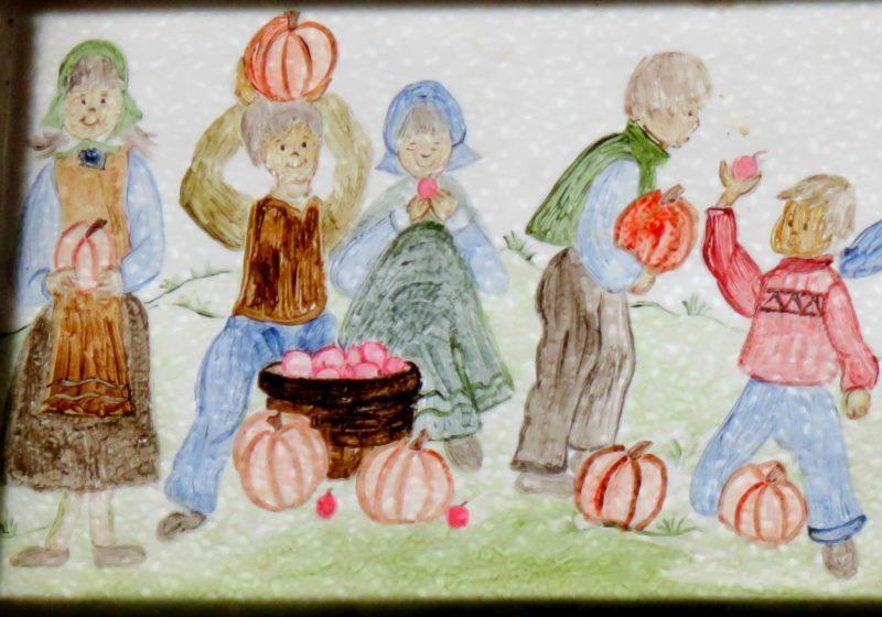 Artwork illustrating delight in a bountiful harvest of apples and pumpkins, Schubert's Restaurant, Mt Horeb, WI